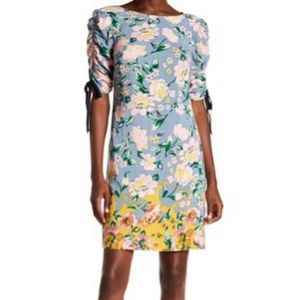 Donna Morgan dress ruched sleeve printed